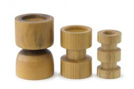 ASH WOODEN CANDLE HOLDER - CDDW3672